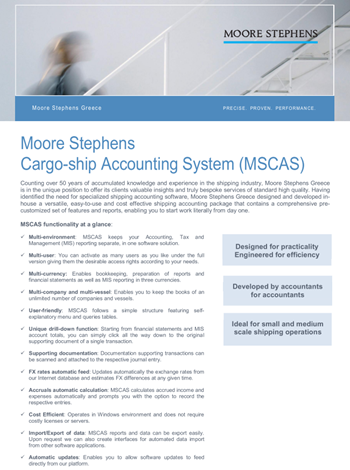 Moore Stephens Cargo-ship Accounting System (MSCAS) — Moore Stephens